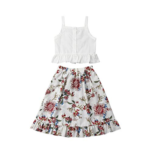 Kleinkind, Kleinkind, Baby, Mädchen, Weiß, Strapless, Ärmellose Oberteile + Langes Kleid mit Falten, 2-TLG (3-4 Jahre, weißes Oberteil mit Blumenkleid)