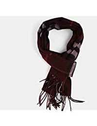 XIAOLIN-- Scarf Male Autumn and Winter Lattice Long Section Wine red/ Dark blue --Outdoor warm scarf ( Color : B )