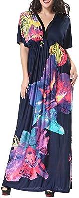 Talla Grande Bohemio Impreso Vestido para Mujer, Largo Vestido de Cóctel Playa