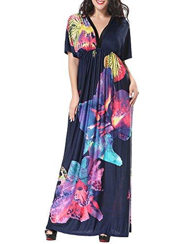 Donna stampato vestito taglia grossa a vita alta abiti di sera elegante abiti lunga vestiti blu zaffiro 3xl