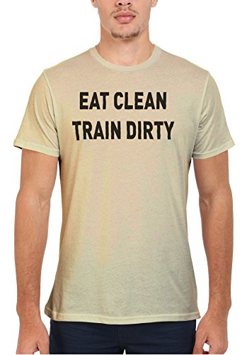 Eat Clean Train Dirty Gym Workout Men Women Damen Herren Unisex Top T Shirt Sand(Cream)