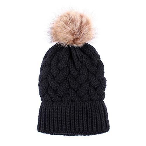 Adaptable Toddler Kid Winter Knit Beanie Ski Hat Baby Boy Girl Faux Fur Bobble Pompom Cap Comfortable Feel Clothing, Shoes & Accessories Hats