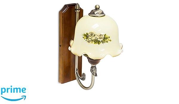 Relaxdays applique con decorazione floreale vetro legno x