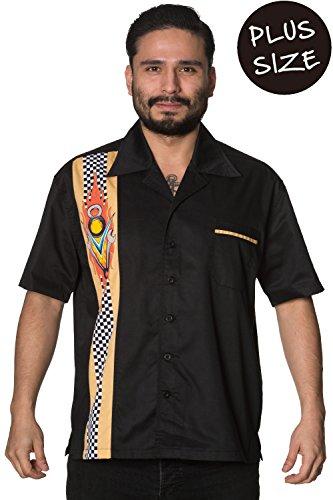Verbotene Zunge gebundene Männer PLUS GRÖSSE Rockabilly Vintages Hemd - 5XL (Brown-streifen-hemd)