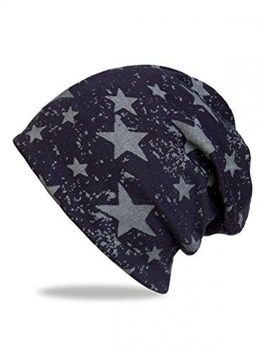 CASPAR MU124 Bonnet Beanie vintage unisexe avec étoiles bleu foncé