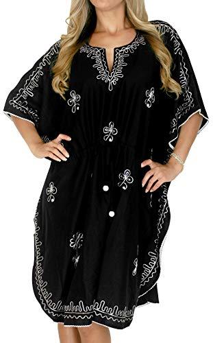 LA LEELA Frauen Damen Rayon Kaftan Tunika Bestickt Kimono freie Größe kurz Midi Party Kleid für Loungewear Urlaub Nachtwäsche Strand jeden Tag Kleider Schwarz_P263 -
