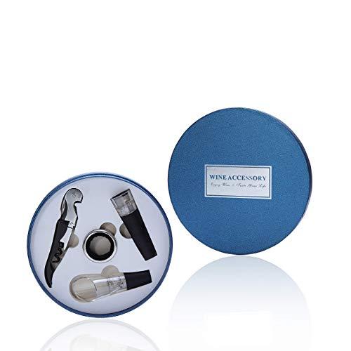 famvis Wein Geschenk Set Kellnermesser, Tropfring, Ausgiesser mit Belüfter, Vacuumverschluss, edel und schön