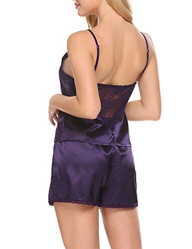 Untlet Träger Nachthemd Damen Satin Schlafanzüge Pyjama Sexy Kurze Nachtwäsche Negligee Wäsche Set Shorty Lila