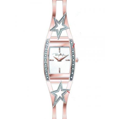 Thierry Mugler - 4711105 - Montre Femme - Quartz Analogique - Cadran Argent - Bracelet Acier Rose