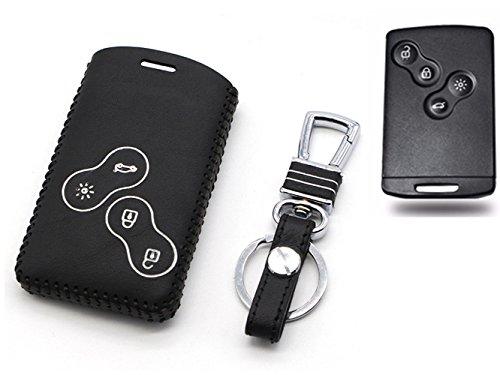 Preisvergleich Produktbild Happyit Auto echtes Leder Smart Key Cover Fall für Renault Clio Scenic Megane Duster Sandero Captur Twingo Koleos 4 Tasten Fernbedienung (Weiß)