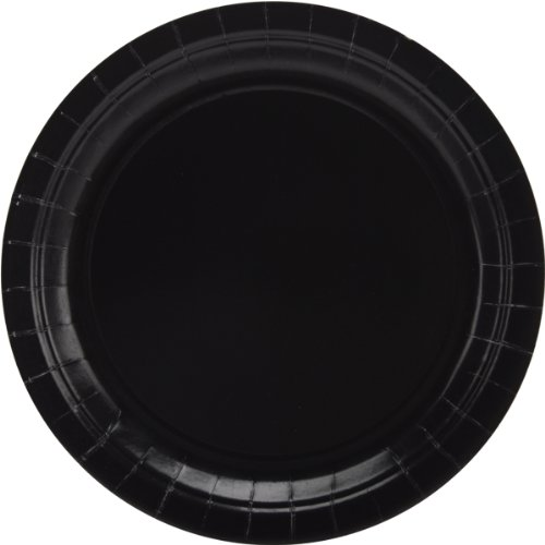 amscan 650013.10 Jet Black Big Party Pack Paper Plates Teller, Papier, -