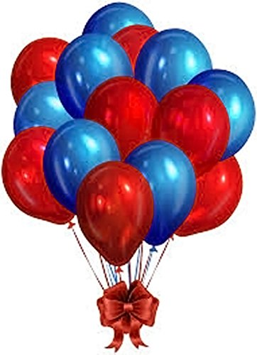 Evisha HD Big Size Metallic/Latex Red and Blue Big Size Balloons , Theme Party, Party Decoration , Birthday Party Pack of 100