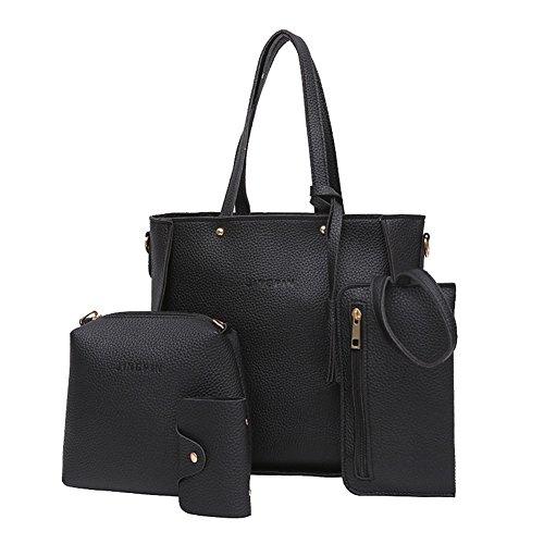 Bangle009 Handtaschen-Set für Damen, mit Quasten, 4 Stück Schwarz