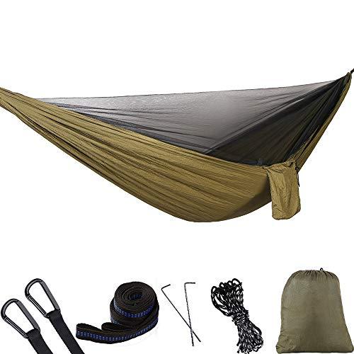 ATYMD Outdoor Hängematte Zelt Fallschirm Tuch Hängematte mit Moskitonetz Ultraleicht Nylon Doppel Multi-Color Camping Luftzelt,Brass