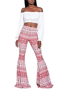 Donna Vita Alta Sottile Stampa Floreale Bohemian Pantaloni da Spiaggia Pantaloni a Zampa D'elefante