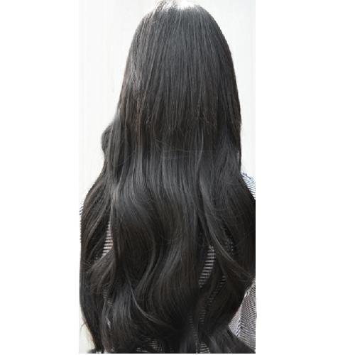 SODIAL(R) Superbe Longue Frise Perruque Epingle sur Cheveux Extension Perruques - Noir