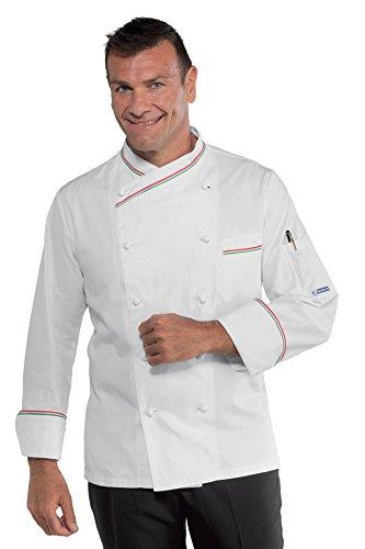 Isacco - Veste blanche de cuisine italienne 100% coton Blanc
