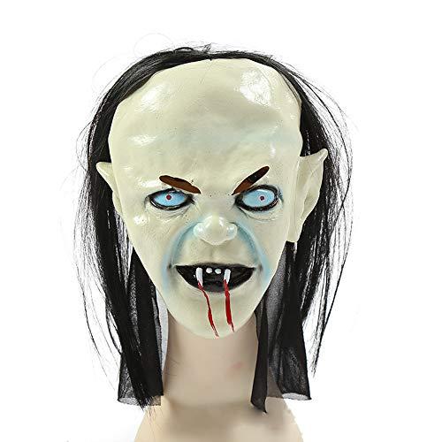 PEJWJ Halloween-Maske, Maskerademaske, Horrorperücke,B