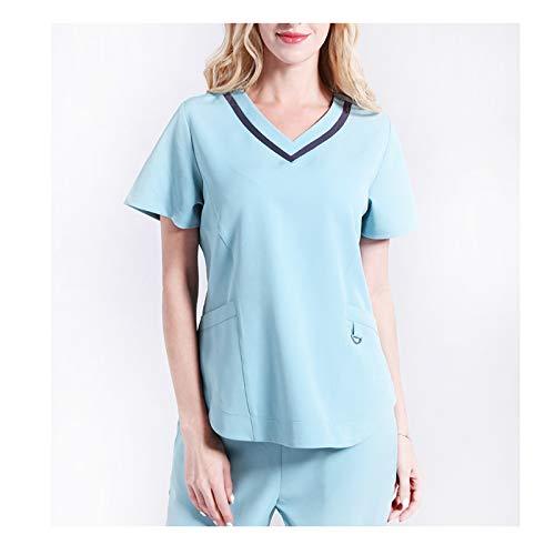 CX ECO Medizinische Uniform Krankenschwester Peelings Set Frauen V-Ausschnitt mit kurzen Ärmeln Mehrere Taschen Atmungsaktiv Anti-Falten Medical Scrub Top Hosen,Blue,XXL (Frauen Krankenschwester Scrub)