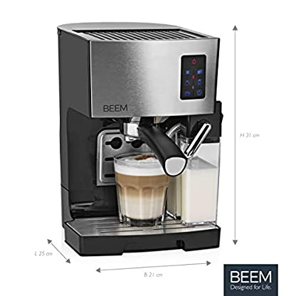 BEEM-Espresso-Siebtrgermaschine-1110SR-Elements-of-Coffee-Tea-1450-W-19-bar-Milchaufschumer-Edelstahl