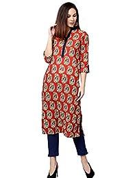 Jaipur Kurti Women Rust & Navy Blue Ethnic Motifs Straight Cotton Kurta With Pant
