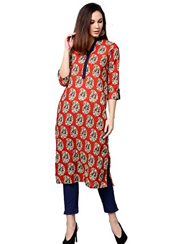 Jaipur Kurti Women Rust & Navy Blue Ethnic Motifs Straight Cotton Kurta...