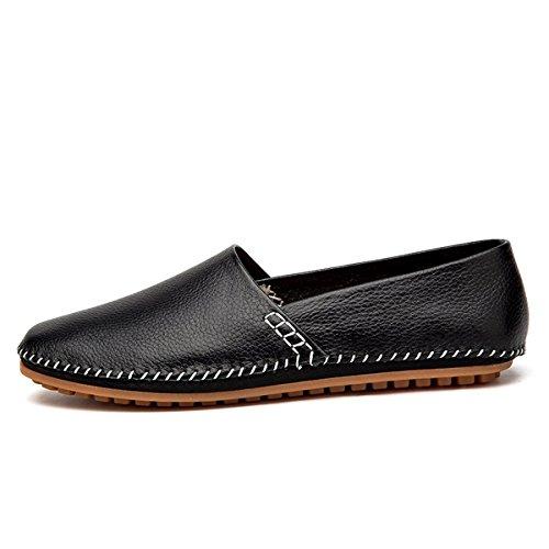 AFFINEST Männer Volltonfarbe Leder Slipper Loafer Schuhe Auto Fahren Schwarz