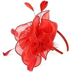 EEVASS Mujer Malla Tocado Elegante flor Fascinator Boda Headwear Sombrero (# Rojo)