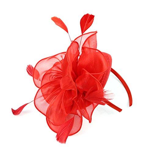EEVASS Damen Tulle Feather Fascinator Cocktail Hut Haarclip Hochzeit Derby Party (# Rot)