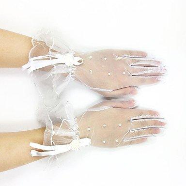 FUNAN Handgelenk-Länge Fingerspitzen Handschuh Spitze Tüll Brauthandschuhe Party / Abendhandschuhe Frühling Sommer HerbstPerlen Rüschen . (Länge Spitzen Rüschen Handgelenk Handschuhe)