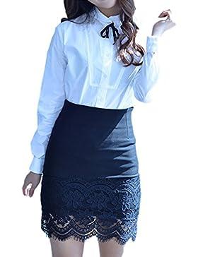 Las Mujeres Eleagnt Cintura Alta Falda Encaje Patchwork Office Lady