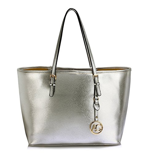 LeahWard Oversize Damen Shopper Taschen Qualität Faux Leder Umhängetasche Handtaschen für Frauen Schulferien CW31 (Silber) (Chloe Handtasche Klassische)