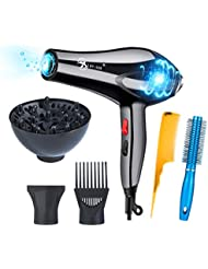 Xagoo Hairdryer Professional Salon 3000W Low Noise Negative Ionic With 2 Speed and 3 Heat Setting Cool Shut Button+5 Accessoire