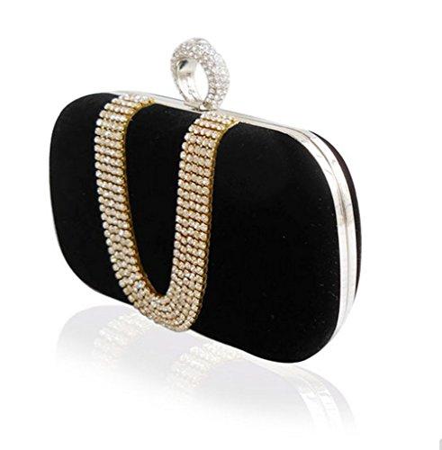 Sallyshiny-Borsa da donna in velluto, con strass, per sera, con scritta: Evening Clutch Bag-Buste per matrimonio (nero)