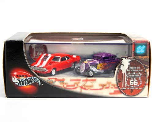 1969-camaro-1934-ford-limited-edition-hot-wheels-2001-route-66-rendezvous-164-scale-2-car-custom-veh