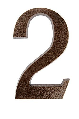 HUBER Hausnummer Nr. 2 Aluminium pulverbeschichtet kupfer antike 20 cm, edles dreidimensionales Design - Kupfer Schild