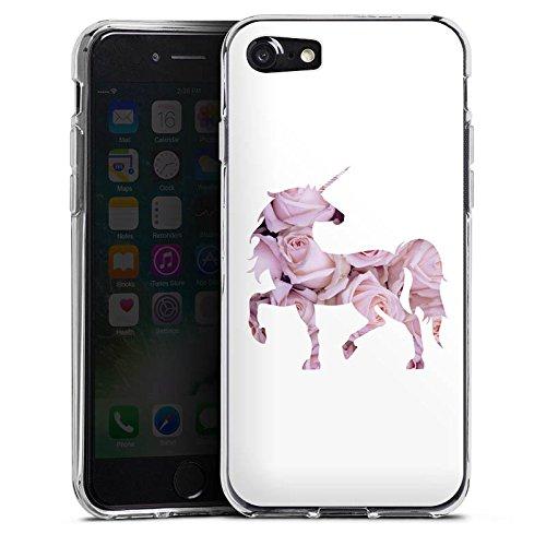 Apple iPhone X Silikon Hülle Case Schutzhülle Einhorn Unicorn Rosen Geschenk Silikon Case transparent