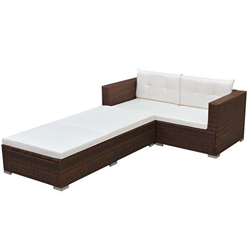 Preisvergleich Produktbild vidaXL Gartensofa Garnitur 8-tlg. Poly Rattan Braun Gartenmöbel Garten Lounge