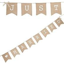 """Musuntas guirnalda de tela cadena banderín """"Just Married"""", 4 m - Sábanas guirnalda como decoración para la boda con letras blancas """"Just Married"""""""