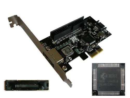 © KALEA INFORMATIQUE IDE-Karte/Controller-Karte SATA, PCI-EXPRESS, 1 port eSATA II (extern), 1 x intern SATA II/IDE, 1 port (ATA133), Chipsatz JMICRON - Esata-karte