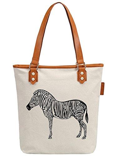 S.CHU Women's Zebra Animal Canvas Leather Tote Handbag Ladies Shoulder Bag (Satchel Handtasche Zebra-print)