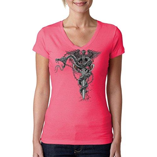 Biker Girlie V-Neck Shirt - Schlange und Schwert by Im-Shirt Light-Pink