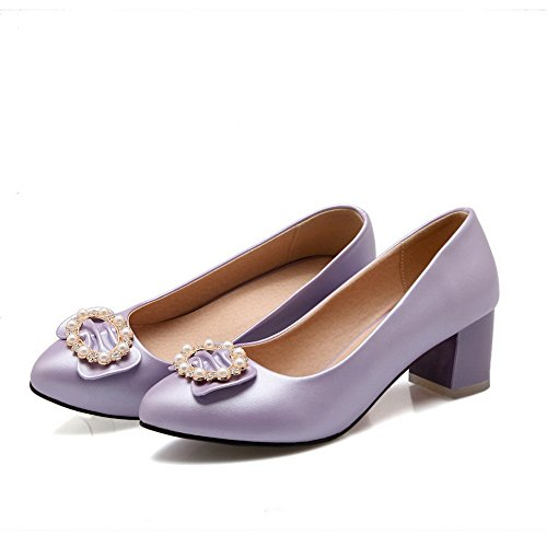 balamasa pour femme à enfiler low-heels massif pumps-shoes Nappa Violet