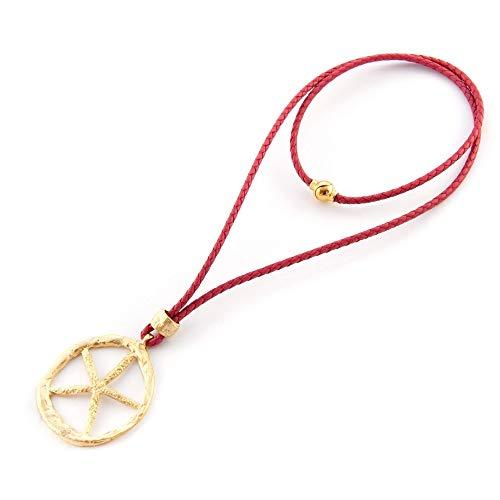 Lange und kurze Halskette mit Leder- und Magnetverschluss.Anhänger mit mattgoldenem Stern. Rote farbe.Valentinstag Geschenk für sie