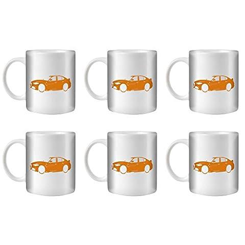 STUFF4 Tea/Coffee Mug/Cup 350ml/6 Pack Orange/Alfa Romeo Giulia/White Ceramic/ST10