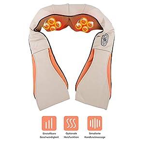 Nackenmassagegerät, 8 rotierende Massageköpfe Shiatsu Massagegerät Nacken Rücken Schulter Massage effektive VIBRATION 3D Nackenmassagegerät mit Wärme für Haus Büro Auto