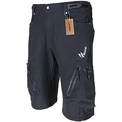 Lixada Shorts de vélo pour hommes, shorts légers respirants pour VTT et shorts amples pour VTT pour le vélo en plein air,noir,XL(CN)=L(EU)