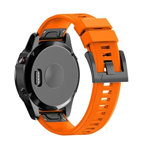 SHOBDW Garmin Fenix 5X Armband, Ersatz Silicagel Soft Quick Release Kit Band Strap Für Garmin Fenix 5X GPS Uhr (Orange, 26MM) - Mit Zahlen Uhr-kits