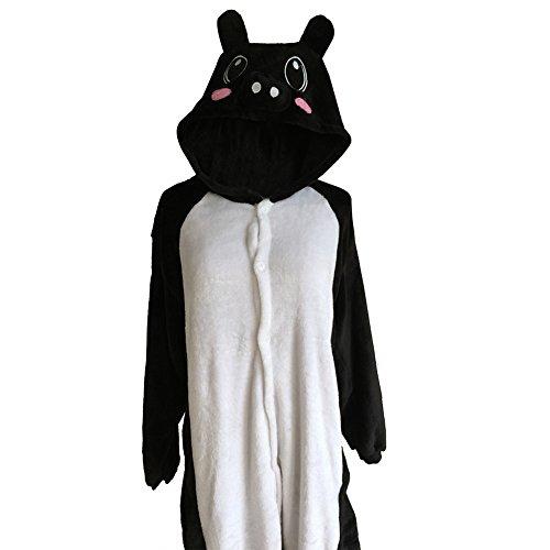Unisex Onesie Pyjamas Overall Einteiler/Pyjama Schlafanzug Für Erwachsene Schwarzes Schwein (In Kostüm Schwein Einem)