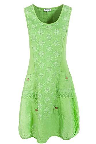PEKIVESSA Leinenkleid Damen mit Stickerei Sommer Knielang Apfelgrün 42 (Herstellergröße XL) Damen Sommer Kleid